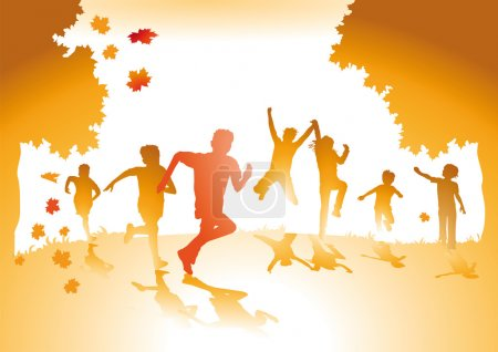 Illustration for Children with autumn leaves - Royalty Free Image