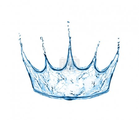Photo for Crown made from water splash isolated on white - Royalty Free Image