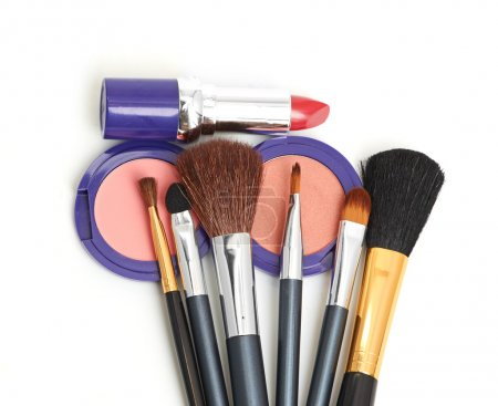 Photo for Makeup brush and cosmetics isolated on a white - Royalty Free Image