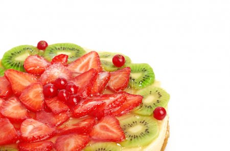 Photo for Cake with strawberries and kiwi isolated - Royalty Free Image