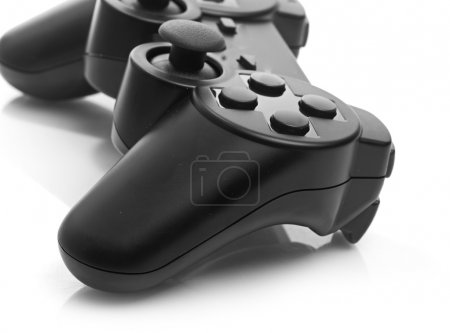 Photo for Black game controller isolated on white background - Royalty Free Image