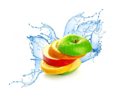 Photo for Fruit mix in water splash - Royalty Free Image