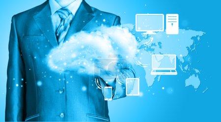 Photo pour Cloud computing, concept de connectivité technologique - image libre de droit