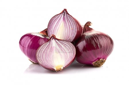 Photo for Red sliced onion isolated on white background - Royalty Free Image