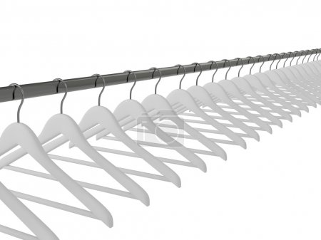 Photo for Black clothes hangers isolated on white - Royalty Free Image