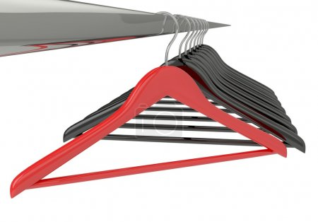 Photo for Black and red clothes hangers isolated on white - Royalty Free Image