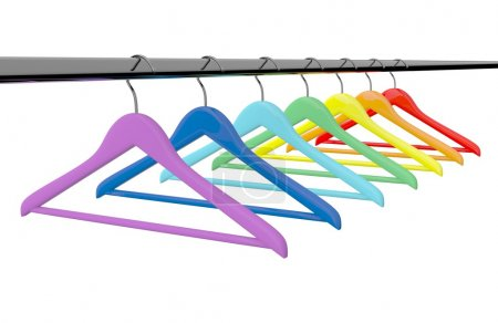 Photo for Row of color rainbow clothes hangers - Royalty Free Image