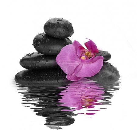 Black stones on water