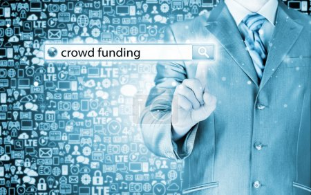Businessman and crowd funding words