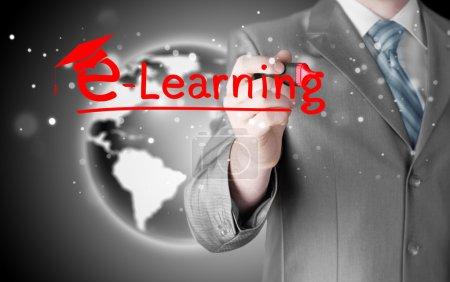 Businessman writing e-learning