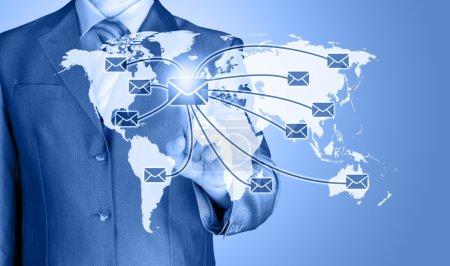 business man distribute digital mail