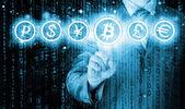 Volba bitcoins, podnikatel lisování dotykový displej tlačítko
