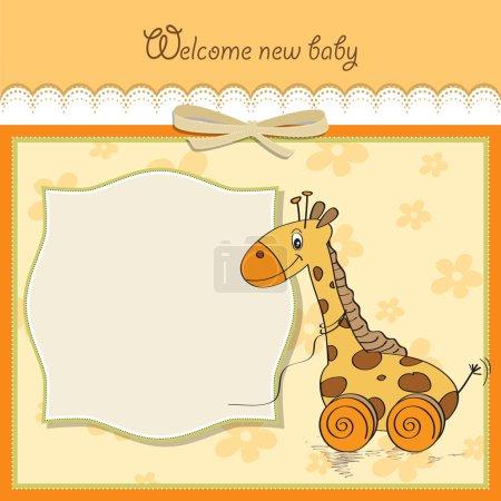 Photo pour Carte de douche de bébé avec jouet girafe mignon - image libre de droit