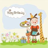 Všechno nejlepší k narozeninám karta s funny girl, zvířata a košíčky