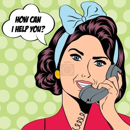 Photo pour Femme bavardant au téléphone, illustration pop art - image libre de droit