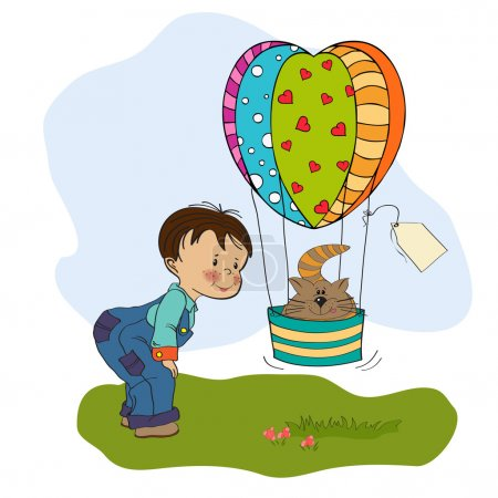 Illustration for Little boy and his flying cat, illustration in vector format - Royalty Free Image