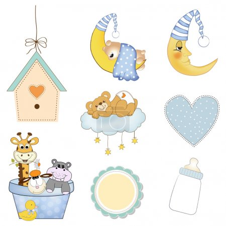 Illustration for New baby items set isolated on white background, vector illustration - Royalty Free Image