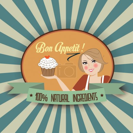 Illustration for Retro wife illustration with bon appetit message, vector format - Royalty Free Image