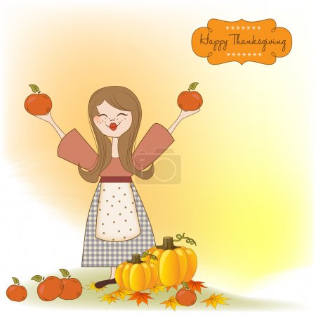 Illustration for Autumn girl with apples and pumpkins - Royalty Free Image