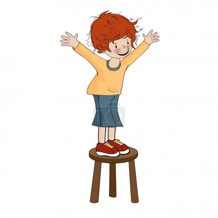 Little boy perched on chair