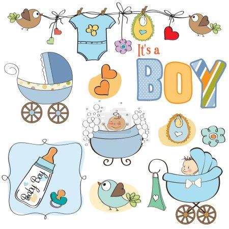 Baby boy shower elements set