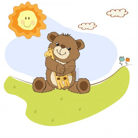 Card with teddy bear and his toy