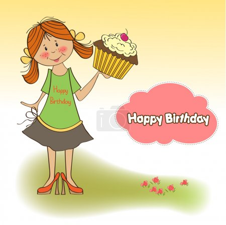Girl and cup cake card