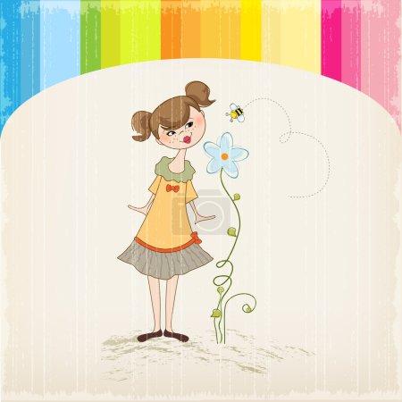 Lady smells a flower