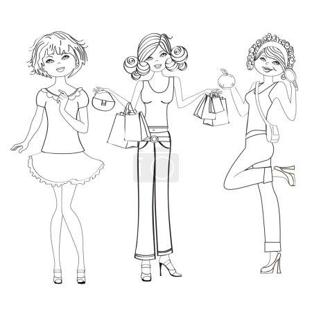 Three cute fashion girls