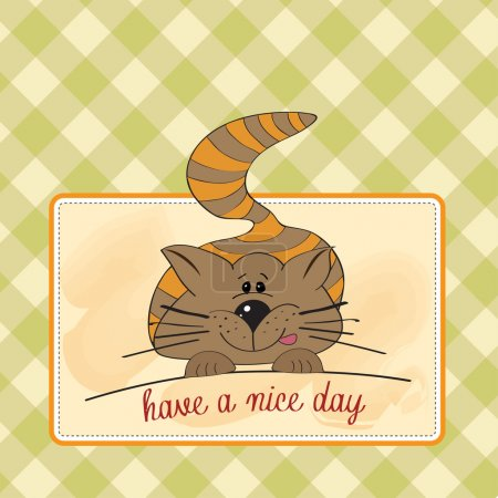 Illustration for Cute kitty wishes you a nice day - Royalty Free Image