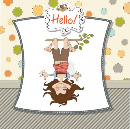 Illustration for Amused young girl standing with her head hanging down - Royalty Free Image