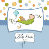 Little boy sleeping in a pea been baby announcement card