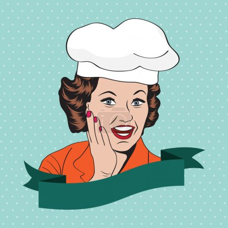 Illustration for Lady Chef, retro illustration in vector format - Royalty Free Image