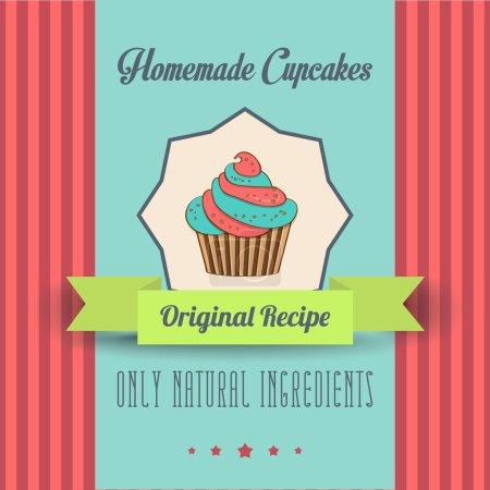 Illustration pour Affiche de cupcakes maison vintage, en format vectoriel - image libre de droit