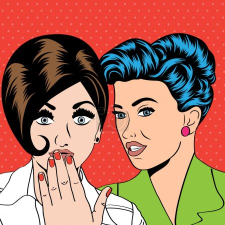 Illustration for Two young girlfriends talking, comic art illustration in vector format - Royalty Free Image