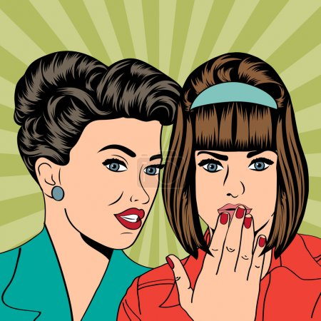 deux jeunes copines parler, illustration de l'art comique
