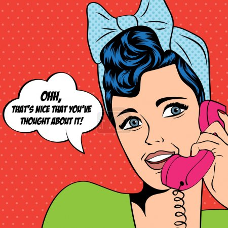 Illustration for Woman chatting on the phone, pop art illustration in vector format - Royalty Free Image