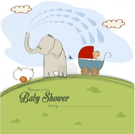 carte de douche bébé avec un garçon en poussette pulvérisé par un éléphant