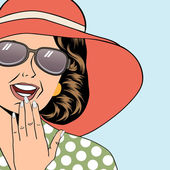 popart retro woman with sun hat in comics style summer illustra