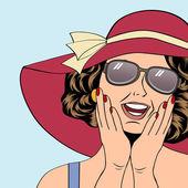 popart retro woman with sun hat in comics style summer illustra