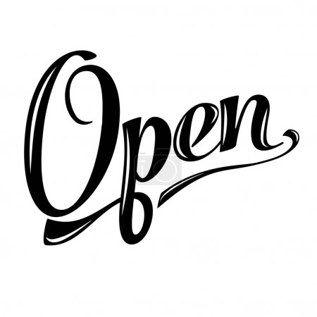 retro open sign on white