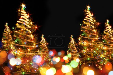 Photo for Abstract color christmas tree from xmas lights - Royalty Free Image