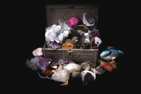 minerals and gems in the steel box