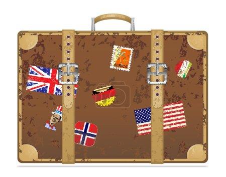 Illustration for Vintage grunge travel suitcase Vector illustration eps 10 - Royalty Free Image