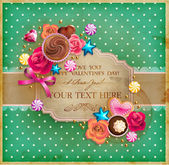 Valentine Day vintage frame for your text decorated with sweets cupcakes cookies roses and golden beads