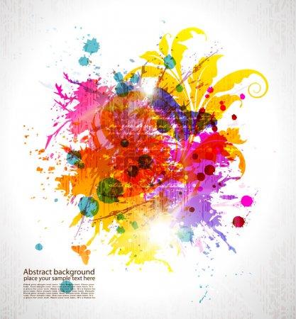 Illustration pour Grunge colored background with blots, floral ornament and lights effect. EPS10 - image libre de droit