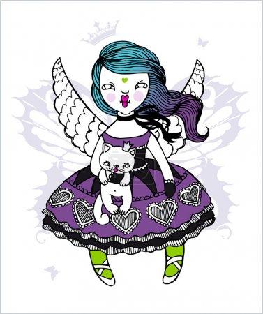 Artistic vector illustration: angel-girl holding a cat