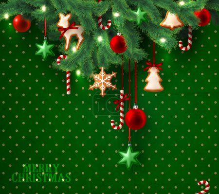 Christmas vintage grunge green background with christmas tree branches and decorations