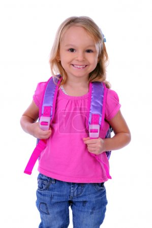 Photo for Child school bag on a white background - Royalty Free Image