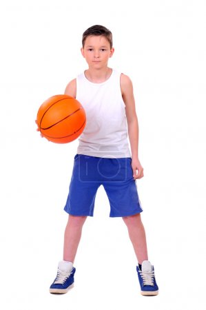 Child with basketball, isolated on white background